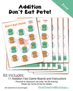 Dont Eat Pete Addition Game {Help your kids avoid the Summer Slide with this fun educational version of a family favorite!}