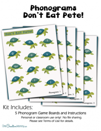 "Make learning to read fun with my ""Don't Eat Pete"" Phonograms Reading Game! {OneCreativeMommy.com} Practicing phonograms is boring, but not with this game!"