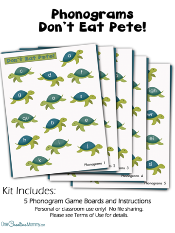 """Make learning to read fun with my """"Don't Eat Pete"""" Phonograms Reading Game! {OneCreativeMommy.com} Practicing phonograms is boring, but not with this game!"""