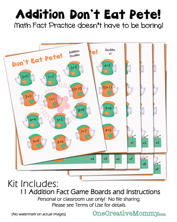 Dont Eat Pete Addition Game {A fun educational version of a family favorite!} OneCreativeMommy.com