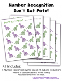 Number Recognition Math Game for Kids | Don't Eat Pete! {OneCreativeMommy.com}