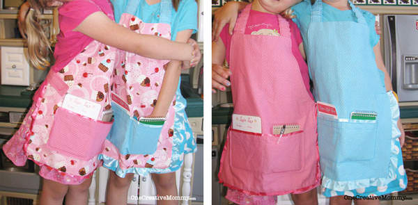 DIY Reversible Kids Diner Apron Tutorial {OneCreativeMommy.com} Add this to your kitchen set for hours of waitressing fun!