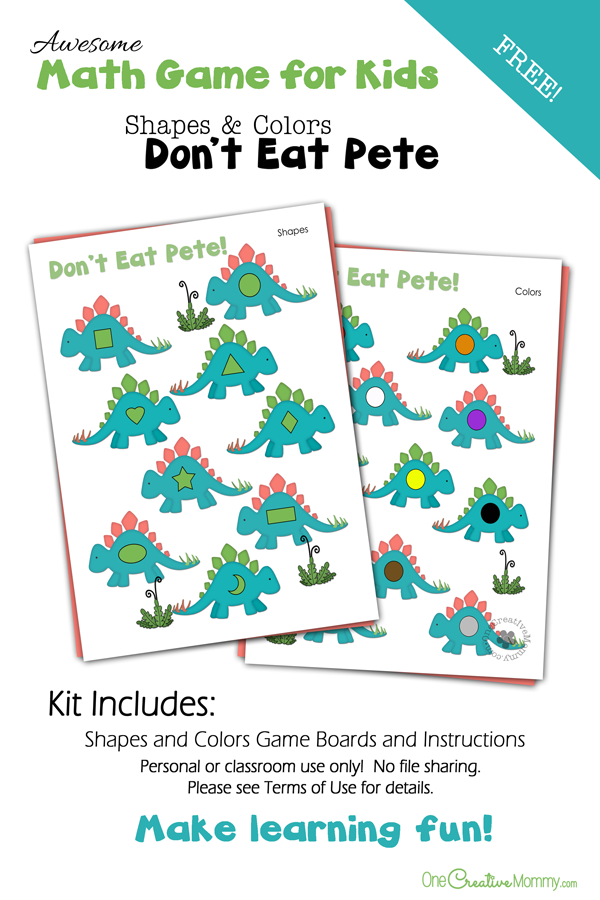 Colors and Shapes Don't Eat Pete Preschool Math Game | A fun way to learn! {OneCreativeMommy.com}
