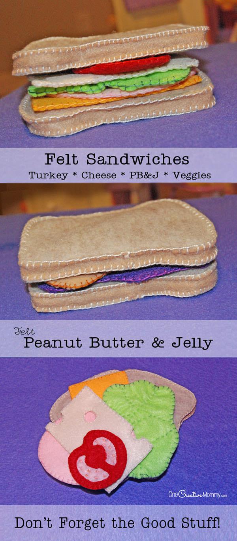 Felt Food Sandwiches from OneCreativeMommy.com {PB&J, Turkey, Cheese, Veggies Tutorial & Patterns}