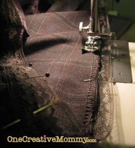Stitch down ribbon and tape