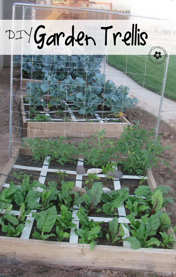 Expand your garden upward with a DIY Garden Trellis! {Picture-filled tutorial from OneCreativeMommy.com}