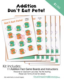 Dont Eat Pete Addition Game from OneCreativeMommy.com