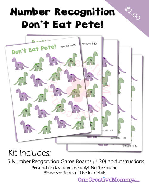 Dont Eat Pete Number Recognition Game for Preschoolers from OneCreativeMommy.com