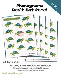 Don't Eat Pete Phonograms Game from OneCreativeMommy.com