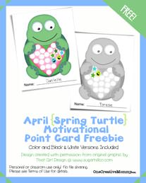 Free Point Card {Turtle} from OneCreativeMommy.com