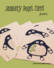 Free Point Card for Kids {Penguin} from OneCreativeMommy.com