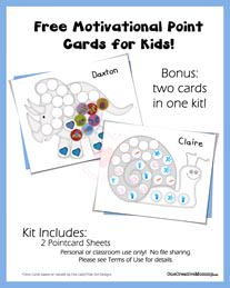 Free Point Cards for Kids {Snail and Dino} from OneCreativeMommy.com