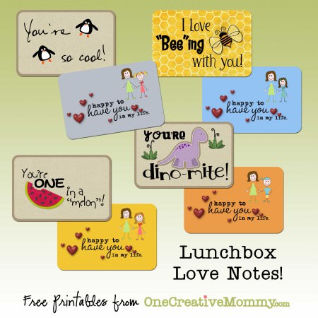 Free Lunchbox Love Notes from OneCreativeMommy.com