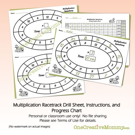 Multiplication Race Track Drill Free Download from OneCreativeMommy.com
