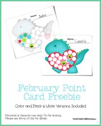 Point Card Freebie {Valentine Dino} from OneCreativeMommy.com