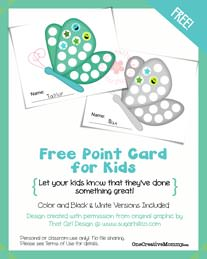 Point Card for Kids {Butterfly} from OneCreativeMommy.com