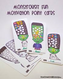 Point Cards for Kids {Monsters} from OneCreativeMommy.com
