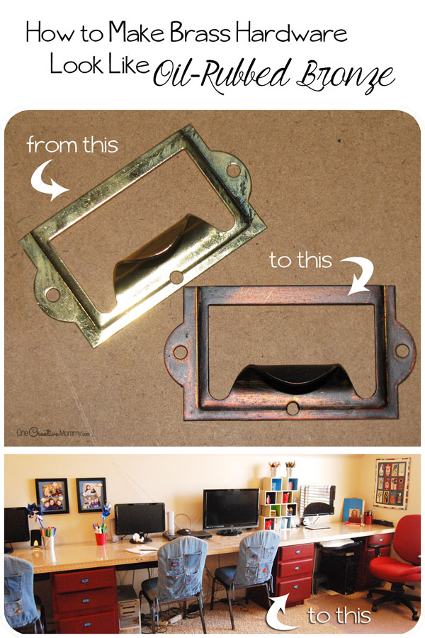 How to make brass hardware look like Oil-Rubbed Bronze! {Easy Tutorial on OneCreativeMommy.com}