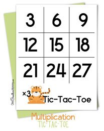Keep kids learning this summer with a fun Tic-Tac-Toe Multiplication Math game! Free printables for beginners and advanced learners. {OneCreativeMommy.com} #summerslide #mathgame