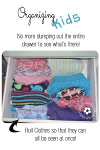 Simple and Effective Tip for Organizing Kids Clothes--Roll them! {OneCreativeMommy.com} #organization #kids