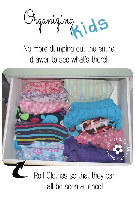One Simple and Effective Tip for Organizing Kids Drawers and Clothes -- Never have a messy dresser again! {OneCreativeMommy.com}