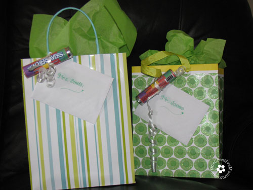 Teacher Appreciation Teacher Savers attached to gifts