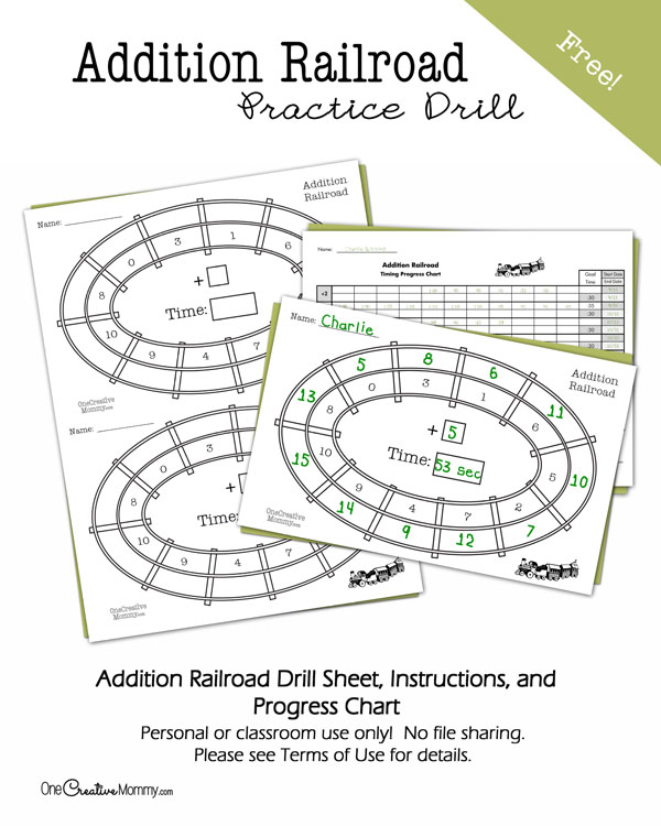 Addition Railroad Practice Drill and Progress Chart -- Keep kids learning this summer while you make learning fun! {OneCreativeMommy.com}