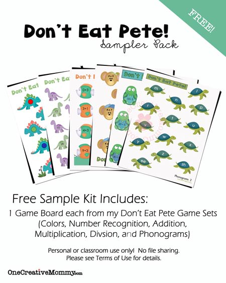 Dont Eat Pete Free Sample Pack from OneCreativeMommy.com  {Not sure which game is right for your family?  Try out a page from each kit for free!}