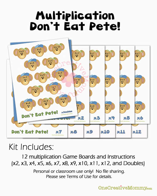 Dont Eat Pete Multiplication Game from OneCreativeMommy.com