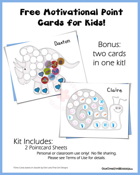 Free Point Cards for Kids {Snail and Dino} from OneCreativeMommy.com.  Let your kids know when they've done something good!