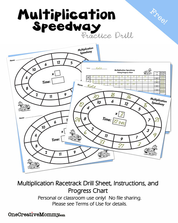Free Multiplication Speedway Practice Drill and Progress Chart -- Make math fun and keep kids learning this summer! {OneCreativeMommy.com}