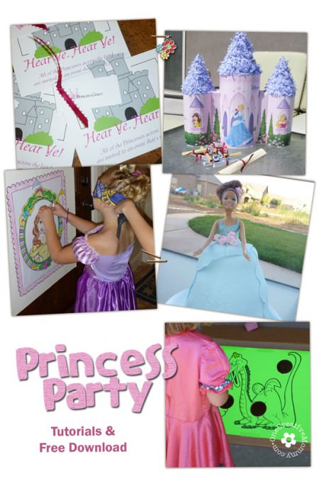 Princess Birthday Party Ideas! {Invitations, Jeweled Goblets, Pinata Quest, Pin-the-Crown on the Princess, Jeweled Treasure Boxes, & Slay-the-Dragon Bean Bag Toss} OneCreativeMommy.com