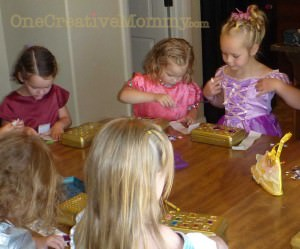 Girls Decorating Treasure Boxes