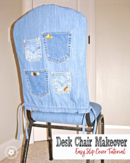 Go from boring to fun with this easy slipcover tutorial. {OneCreativeMommy.com} Desk Chair Makeover #slipcover #tutorial #seweasy