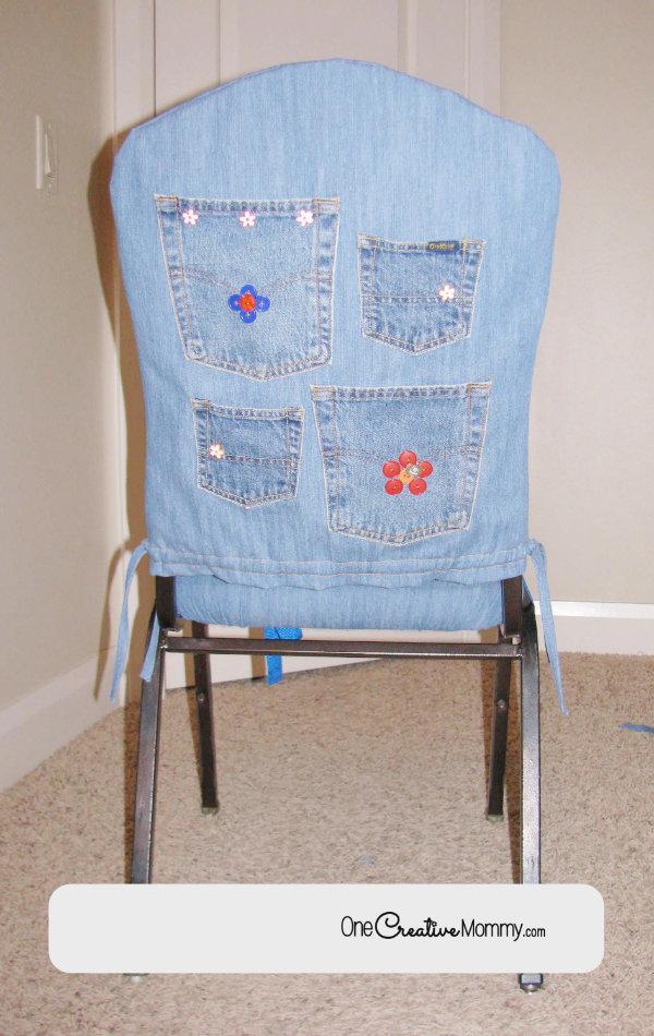 Desk Chair Makeover Easy Slipcover Tutorial {OneCreativeMommy.com} #seweasy #slipcover