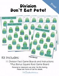 Math Fact Practice for Kids -- Don't Eat Pete Division Game {OneCreativeMommy.com} Bonus Square Roots practice game board included