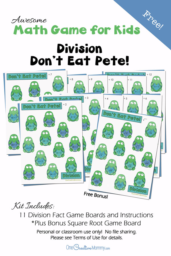 Awesome Math Fact Practice for Kids -- Don't Eat Pete Division Game {OneCreativeMommy.com} Bonus Square Roots practice game board included
