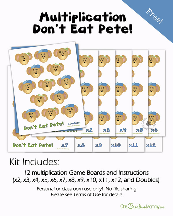 Finally, learning multiplication facts is fun with Multiplication Dont Eat Pete! {OneCreativeMommy.com} Learning Games, Math Fact Practice
