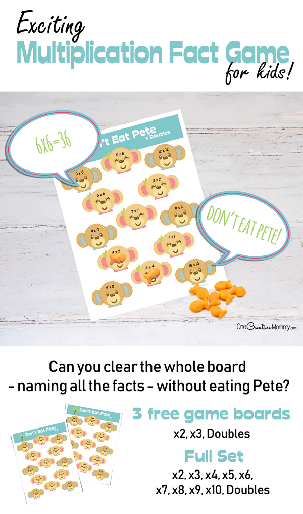 Can you clear the board without eating Pete? Make learning multiplication facts fun with this unique math game! Multiplication Don't Eat Pete! {OneCreativeMommy.com} Learning Games, Math Fact Practice #math #mathgames #multiplication #teaching #homeschooling