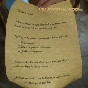Quest instructions from the King