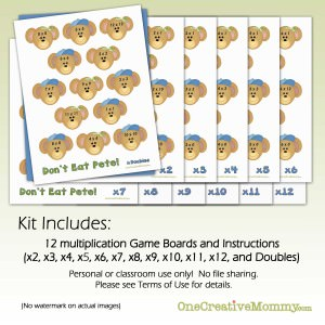 h Multiplication Dont Eat Pete! {OneCreativeMommy.com} Multiplication Game, Learning Games, Math Fact Practice
