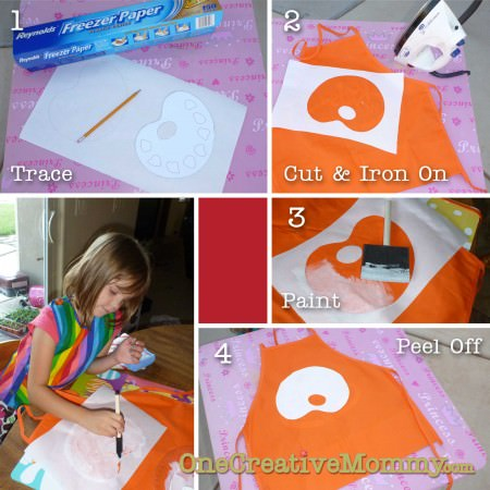 Images of Steps 1-4 Art Apron with Freezer Paper
