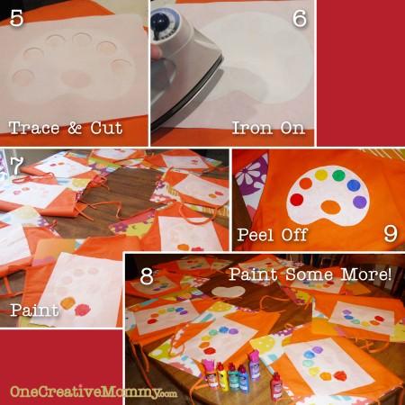 Steps 5-9 to create art apron using freezer paper