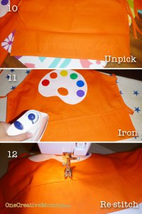 Steps 10-12 to recreate pocket on apron