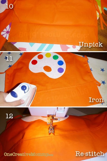 Steps 10-12 to recreate pocket on apron