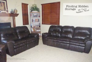 Finding Hidden Storage in Your Home {OneCreativeMommy.com} #storage There are 100 cans hidden in this picture!