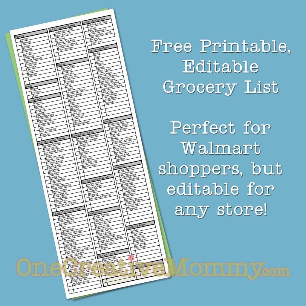 Free Printable, Editable Grocery List