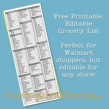 Free Printable, Editable Grocery List