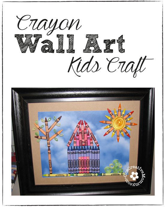 Let your kids fill the walls with inexpensive Crayon Wall Art! {Garage sale frame + a few boxes of crayons = fun!} OneCreativeMommy.com
