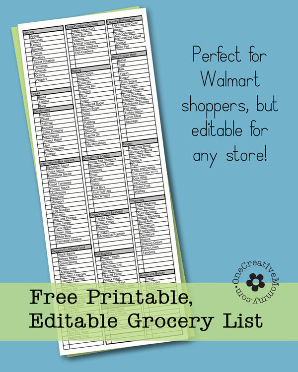 Shop More Quickly With This Printable And Editable Grocery List From  OneCreativeMommy.com. No  Printable Grocery List Template Free